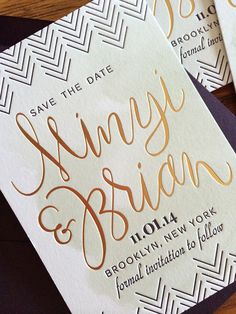 Sneak Peek: Minyi & Brian- Hand lettered, watercolor,  letterpressed, gold foil stamped (whew)  Wedding Save the Date | And Here We Are