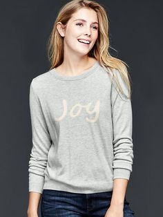 Intarsia word pullover Product Image