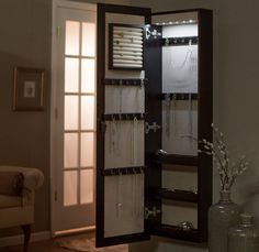 Mirrored Jewelry Armoire Hidden Storage Wall Mount With Mirror Home Decor GIFT #BelhamLiving