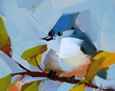 Tufted Titmouse n. 31 original bird oil painting by Angela Moulton 6 x 6 inch on panel ready to ship Sept. 8