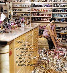 One day... #shoe closet Mrs. Fabulous Kimora Lee Simmon's closet  is all the way FAB!