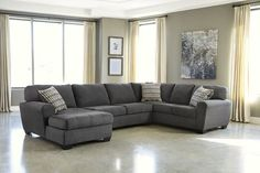 Ashley Furniture 3 pc sorenton ii collection slate colored fabric upholstered sectional sofa with rounded arms Sectional Sofa Sale, 3 Piece Sectional, Living Room Sectional, Couches, Gray Sectional, Gray Sofa, Lounge Sofa, Chaise Sofa, Leather Sectional