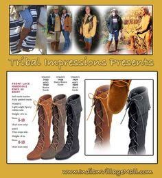 Front Lace Hardsole Minnetonka Knee Hi Fringed Boot  The Boot The Celebrities Wear! They Are In Style And Works Of Art You Will Love To Wear !