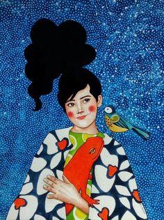 Por amor al arte: Hülya Özdemir Art And Illustration, Watercolor Illustration, Illustrations, Art Pop, Inspiration Artistique, Portrait Art, Portrait Paintings, Art Paintings, Portraits