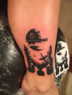 Star Wars silhouette of Endor tattoo Dope Tattoos, Star Tattoos, Pretty Tattoos, Beautiful Tattoos, New Tattoos, Body Art Tattoos, Sleeve Tattoos, Tatoos, Star Wars Tattoo