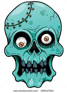 Vector illustration of Cartoon Zombie face - stock vector