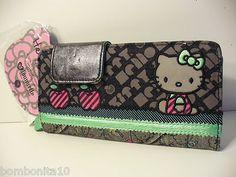 Loungefly Hello Kitty Metalic Grey & Light Green Wallet