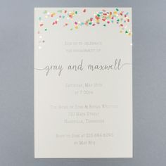 """Print your own invitations for your next party with the versatile """"Confetti""""…"""