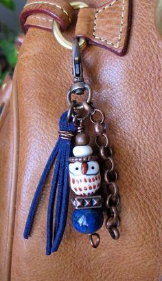 MINI Boho Purse Charm Tassel Zipper Pull Owl by ThePaintedCabeza
