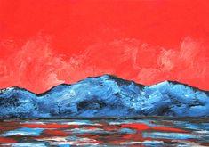 "Sunrise #454 (ARTIST TRADING CARDS) 2.5"" x 3.5"" by Mike Kraus - aceo atc christmas xmas hanukkah chanukah kwanzaa eid mountains sea water"