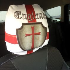 CAR SEAT HEAD REST COVERS 2 PACK WHITE ST GEORGE SHIELD DESIGN MADE IN YORKSHIRE