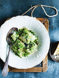 silver beet and lemon ricotta gnocchi with salsa verde