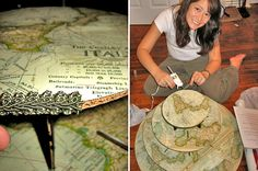 DIY cupcake stand using vintage maps & ribbon trim (use any paper keyed to the wedding theme/colors)