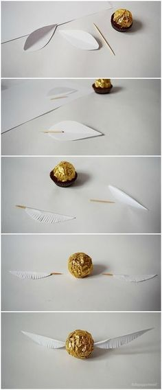 lottapeppermint: The Golden Snitch. A Harry Potter DIY from Christmas chocolate. – Antonia lottapeppermint: The Golden Snitch. A Harry Potter DIY from Christmas chocolate. lottapeppermint: The Golden Snitch. A Harry Potter DIY from Christmas chocolate. Baby Harry Potter, Harry Potter Baby Shower, Natal Do Harry Potter, Harry Potter Navidad, Cadeau Harry Potter, Harry Potter Weihnachten, Harry Potter Bricolage, Harry Potter Thema, Estilo Harry Potter