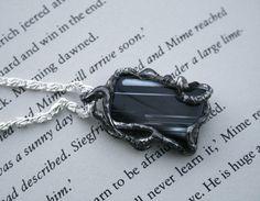 onyx pendant black agate pendant gemstone by Blacksmithworkshop
