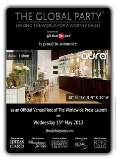 Aura - #Restaurante + #Lounge café will host the #Press #Launch on the 15th May 2013.   As a #Journalist, #Blogger or #Media Correspondent to attend please click here: http://www.theglobalparty.com/venues/aura/