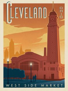 Cleveland, Ohio - This stylish print of Cleveland's West Side Market is sure to brighten any home or office wall. Celebrate the Cleveland's historic charm by decorating with this classic design. National Park Posters, National Parks, Cleveland Ohio, Cleveland Rocks, Cleveland Scene, Columbus Ohio, West Side Market, Wisconsin, Michigan