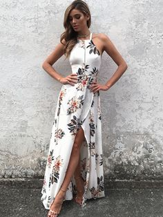 White Maxi Dress Halter Sleeveless Backless Floral Printed Slit Maxi Dress For Women - Milanoo.com