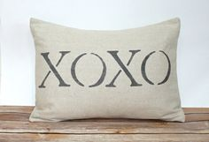XOXO Pillow  Valentine's Day  Wedding  by CariJoyDesigns on Etsy