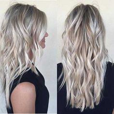 Lange Blonde Haarfarbe Idee
