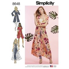 Buy Simplicity Women's Kimono Dress Sewing Pattern, from our Sewing Patterns range at John Lewis & Partners. Simplicity Sewing Patterns, Sewing Patterns Free, Dress Patterns, Fabric Patterns, Vogue Patterns, Print Patterns, Long Kimono, Kimono Dress, Kimono Duster