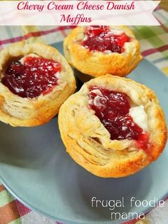 Cherry Cream Cheese Danish Muffins  1 roll (8 count) of Grands! Flaky Layers Buttermilk Biscuits 1/2 cup + 2 tbsp sugar 4 oz cream cheese, softened 1/4 cup tart cherry preserves