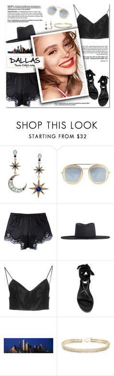 """How to Style Black Silk Lace Shorts with a Black Tank, Black Hat and Black Sandals for Travel to Dallas, TX"" by outfitsfortravel ❤ liked on Polyvore featuring Betsey Johnson, Gucci, Dolce&Gabbana, Zimmermann, Alexander Wang, Naomi Campbell and ABS by Allen Schwartz"