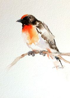 ARTFINDER: Red Capped Robin by Arti Chauhan - This cute little robin with red front and red/black head has been painted in minimalist style watercolor. This is a small, new and original work of art, woul...