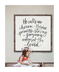 Home decor - Chosen Warrior Princess Scripture sign Wood framed Sign Hanging wall decor Nursery Decor Bedroom wall Art He Calls Me His Farmhouse Decor