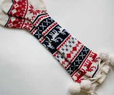 ... Scandinavian pattern rustic winter autumn fall knit knee-high