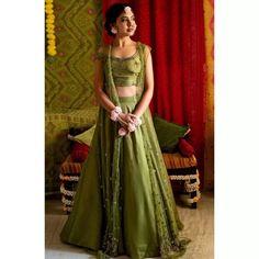 Lehenga Choli : Mehendi green zurich silk sequence and zari ...