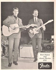 Rick Nelson and James Burton in a Fender promo shot Fender Guitar Amps, Fender Electric Guitar, Music Guitar, Playing Guitar, Guitar Parts, Rogers Drums, Gibson Les Paul Tribute, James Burton, Ricky Nelson