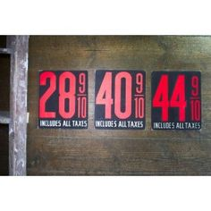 Gas Station Price Card - Pedlars Friday Vintage
