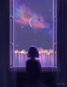 the moon 💜 Wallpaper Pastel, Night Sky Wallpaper, Anime Scenery Wallpaper, Aesthetic Pastel Wallpaper, Cute Wallpaper Backgrounds, Pretty Wallpapers, Galaxy Wallpaper, Cartoon Wallpaper, Disney Wallpaper