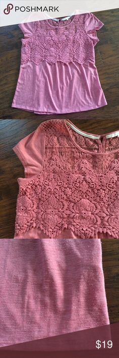 Maurices top Cute top! No stains or holes! Crochet details! Minimal wash wear (pilling/refer to pics). Mauve colored. Maurices Tops