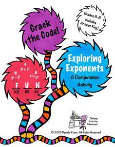 Exploring Exponents- Crack the Code!  Grades 6-8