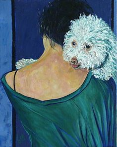 Bichon Painting - Hugs by Linda J Bean