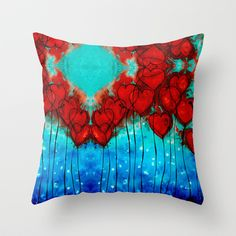 Hearts On Fire Patterns - Romantic Art By Sharon Cummings Throw Pillow by Sharon Cummings
