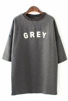 Shades of Grey Letter Applique Three Quarter Sleeve Wool Dress #Grey #Words #Dress