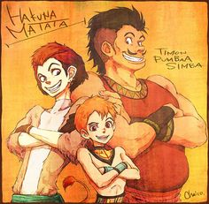 Timon, Pumbaa, and Simba