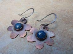 Copper Flower Dangle Earrings with Lapis by BrazinHussyStudio