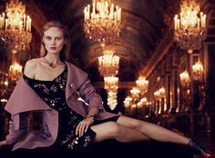 Dior cashmere coat, £3,800, silk and crystal dress, £8,800, and calfskin ankle boots, £1,050. Dior Fine Jewellery Salon d'Apollon white, rose and yellow gold, darkened silver, white and yellow diamond necklace, matching bracelet, and white and rose gold, darkened silver and diamond brooch, all price on request