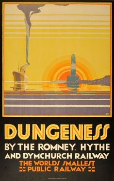 View this item and discover similar for sale at - Original vintage poster for Dungeness by the Romney, Hythe and Dymchurch Railway, the world's smallest public railway. The poster comes with a letter from Posters Uk, Train Posters, Railway Posters, Poster Prints, Modern Posters, Art Prints, Art Deco, Art Nouveau Pintura, Romney Marsh