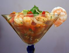 This Mexican-inspired shrimp cocktail is not a true ceviche -- instead, the shrimp are lightly poached in lime-infused water and marinated in lime juice while they cool. The combination of shrimp, crunchy vegetables and spicy sauce is delightful and refreshing.