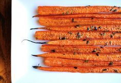 Thyme Roasted Carrots    Recipe and photo courtesy of A Sweet Pea Chef Ingredients: 10-12 whole unpeeled carrots, split lengthwise  2 tbsp. fresh whole thyme leaves (no stems)  2-3 tbsp. olive oil  1 tsp. kosher salt  1/4 tsp. ground black pepper  optional: balsamic vinegar, honey, fresh rosemary sprigs Directions: Preheat oven to 400 degrees. Cover a sheet pan with aluminum foil or parchment paper. Drizzle olive oil over carrots on the sheet pan. Season with kosher salt and ground black…