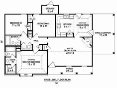 Country Plan: 1,246 Square Feet, 3 Bedrooms, 2 Bathrooms - 053-02584 3 Bedroom Floor Plan, 3 Bedroom House, Best House Plans, Dream House Plans, Monster House Plans, Bedroom Flooring, Build Your Dream Home, Architecture Plan, Great Rooms