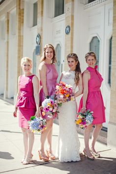 Hot pink 'maids. Photography by jnicholsphoto.com, Event Coordination by keelythorne.com, Floral Design by merveilleevents.com, Read more - http://www.stylemepretty.com/2013/06/18/austin-wedding-from-the-nichols/