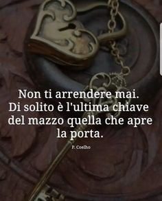 """""""Non ti arrendere mai. Di solito è l'ultima chiave del mazzo quella che apre la porta"""" -Paulo Coelho-"""