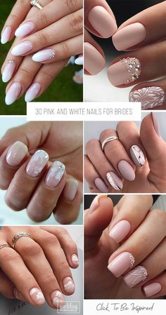 30 Perfect Pink And White Nails For Brides We have collected temeless ideas of pink and white nails which enchantingly complete the image of bride. Enjoy the ideas in our gallery! Vintage Wedding Nails, Wedding Nails For Bride, Bride Nails, Black Wedding Cakes, Beautiful Wedding Cakes, Sophisticated Nails, Wedding Cake Centerpieces, Wedding Makeup For Brown Eyes, Fresh Flower Cake