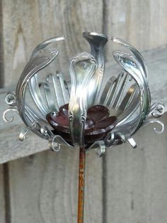 tealight yard stake from forks